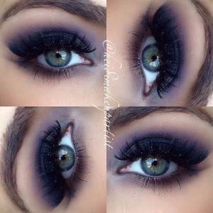 Smoky Glitter Eyes with Thick Lashes