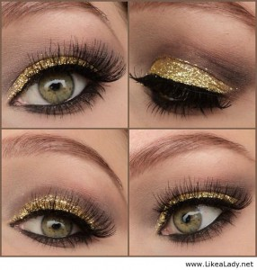 Glitter Eye Makeup Idea for Brown Eyes