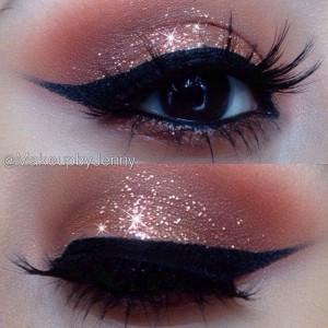 Copper Glitter Eye Makeup Idea