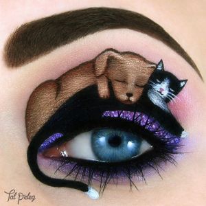"The very cute ""Dog and Cat Friendship"" Eye Makeup"