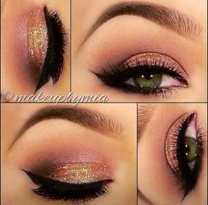Salmon Glitter Eye Makeup Idea