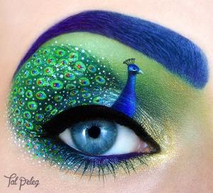 "colorful ""Peacock"" Eye makeup"