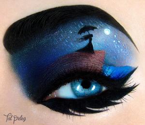 Lonely girl moon eye makeup
