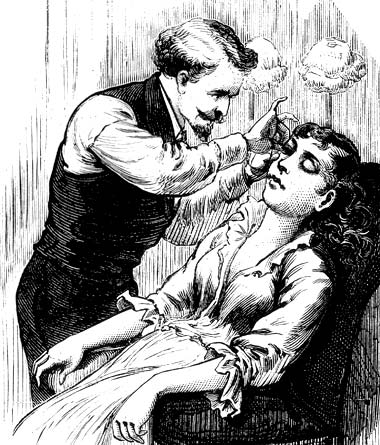 1882 Fringed eyelashes being sewed on to brighten eyes (from McLaughlin, 1972).