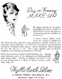 "1932 Phyllis Earle Eyelash Grafting service. ""Lasting some weeks the results of this treatment are indistinguishable from natural lashes."""