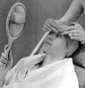 1936 Grafting eyelashes. Artificial eyelashes were glued to the client's real lashes not to the lid.