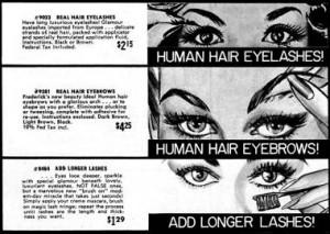 1964 False eyelashes and eyebrows by Fredericks.