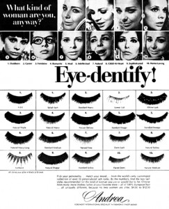 1969 False eyelashes from Andrea showing some of the strip eyelashes forms that were available in the 1960s.