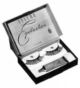 A set of false eyelashes made by Eylure Cosmetics. This English company began selling false eyelashes in 1947.