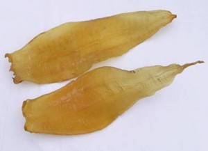 Fish bladders were used to make isinglass or 'fish-skin'.
