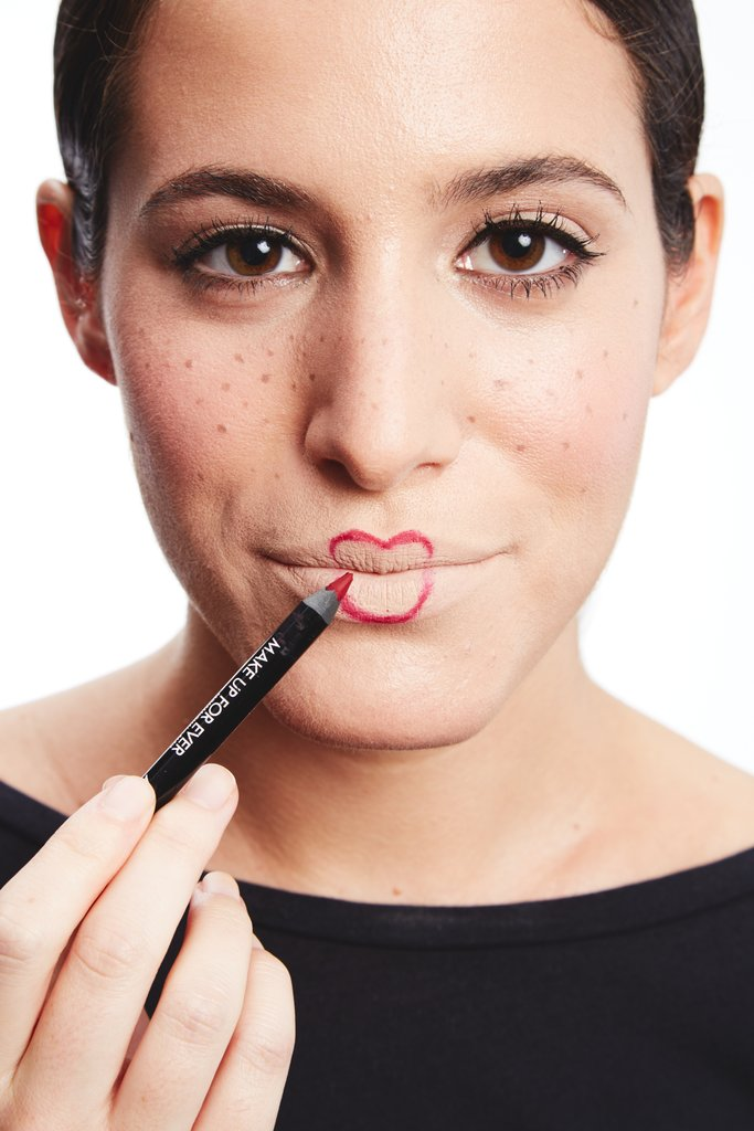 Reshape the new lips and fill in the area with a lip pencil