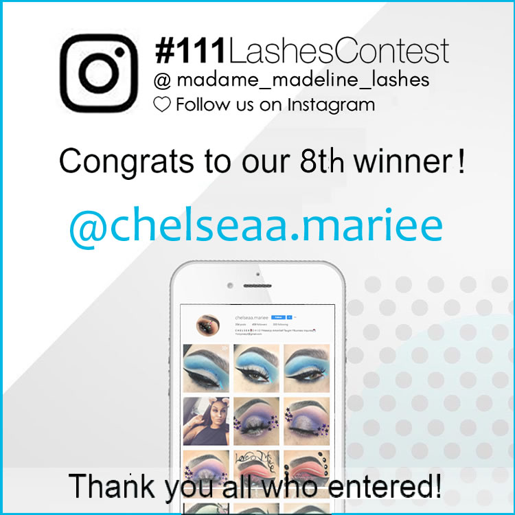 Our 8th grand price #111 false lashes contest giveaway winner.