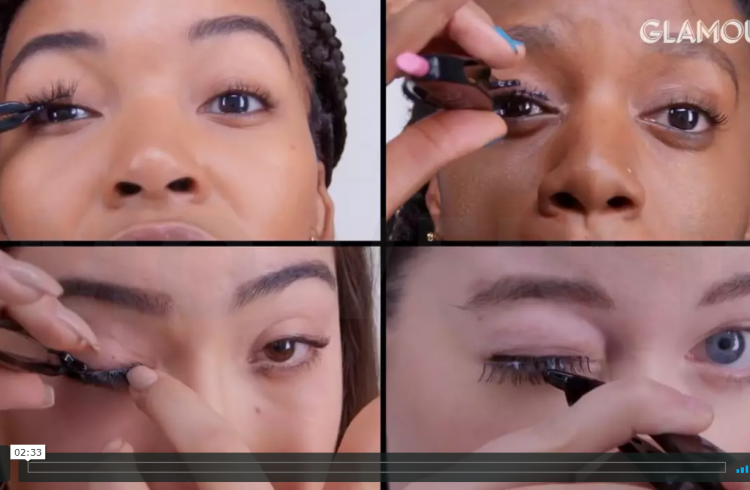 women to put on fake eyelashes