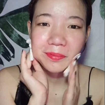 removing makeup and false eyelashes after transformation