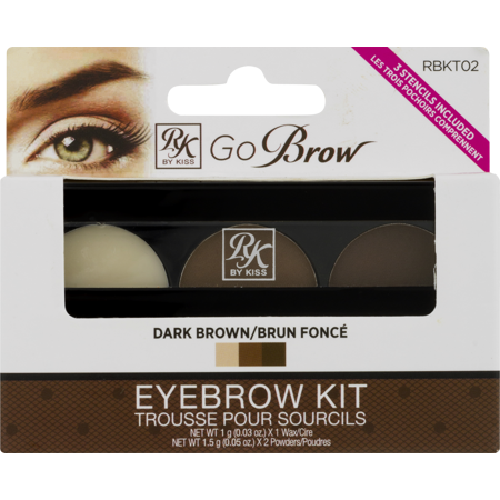 Kiss Go Brow Eyebrow Kit with Stencils - Dark Brown (RBKT02)