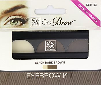 Kiss Go Brow Eyebrow Kit with Stencils - Black Dark Brown (RBKT01)