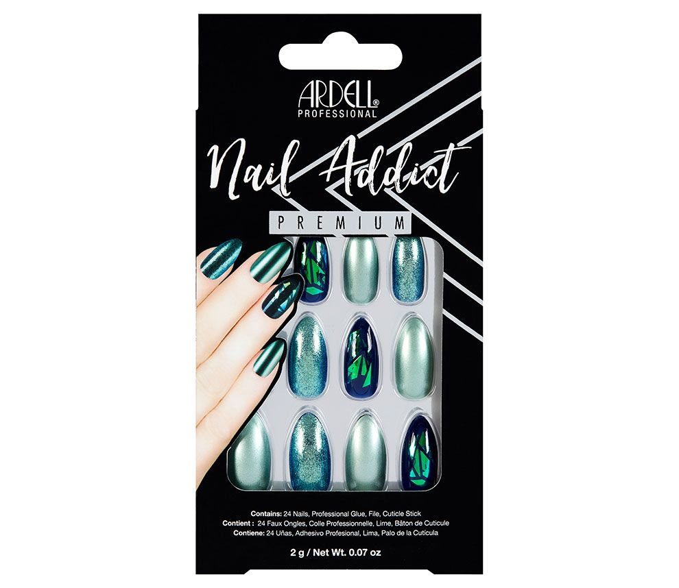 Ardell Nail Addict Premium Artificial Nail Set- Green Glitter Chrome