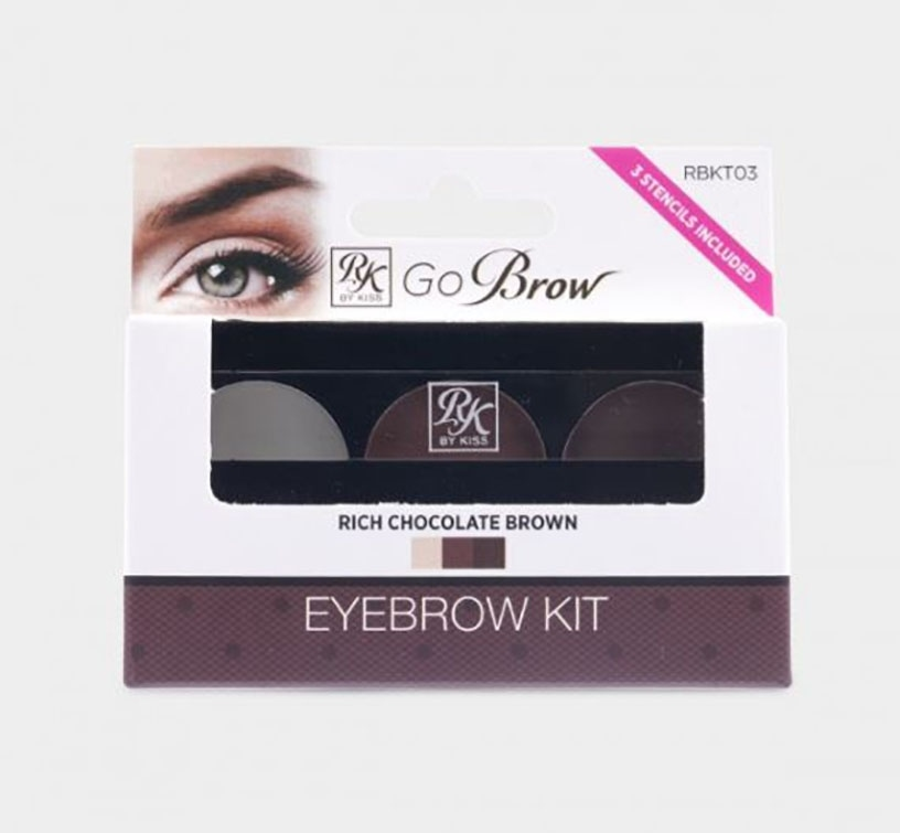 Kiss Go Brow Eyebrow Kit with Stencils - Chocolate Brown (RBKT03)