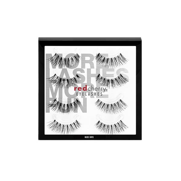 Red Cherry Nude Onyx False Eyelashes - 4 PACK