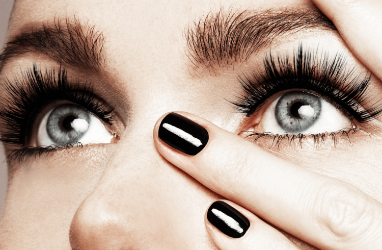 Accentuate your look with false eyelashes.