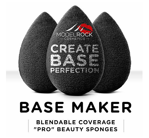 "MODELROCK Base Maker Blendable Coverage ""Pro"" Beauty Sponge 3pk (Black)"