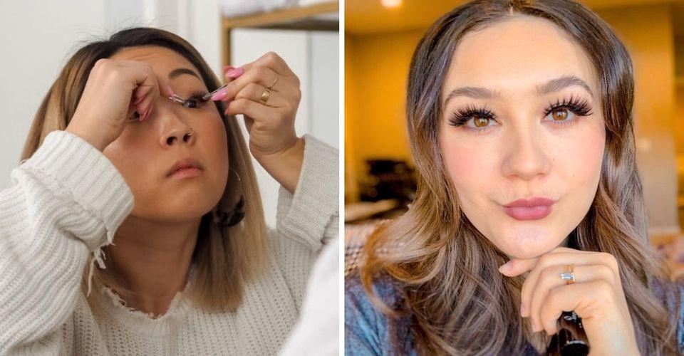 Woman applying fake eyelashes/Woman posing wearing fake magnetic eyelashes