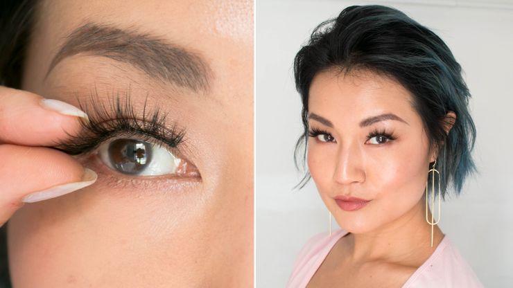 Applying fake lashes / Woman posing wearing fake lashes.