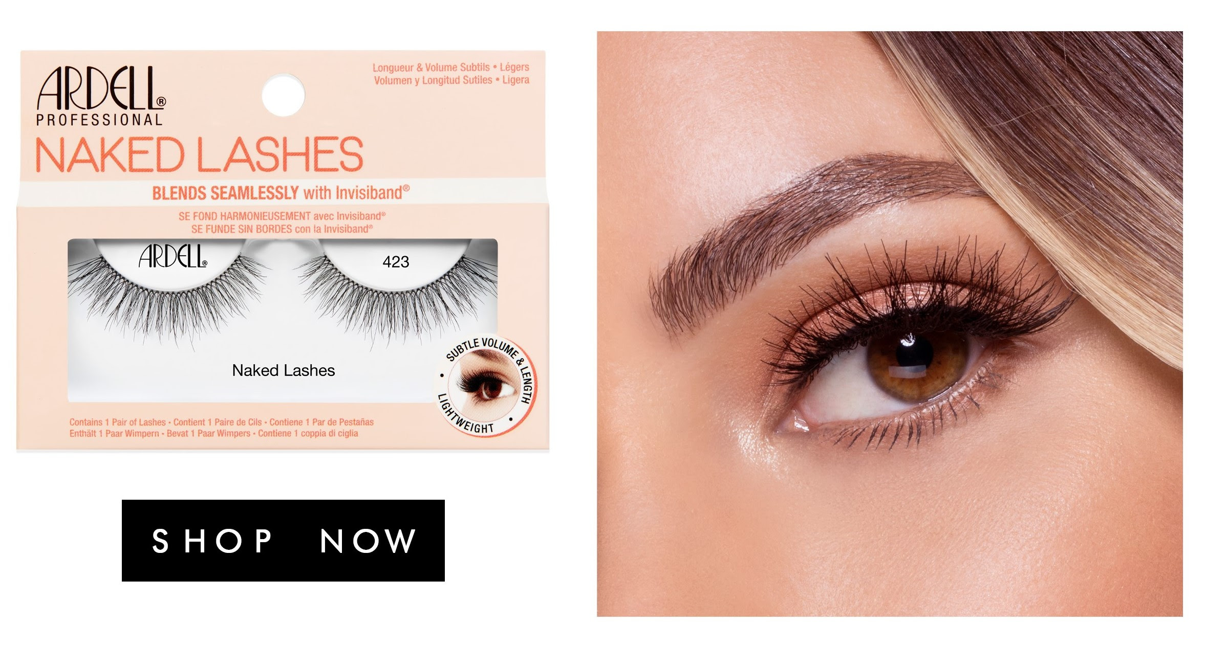 ardell naked lashes blends seamlessly with your natural lashes with invisibands.