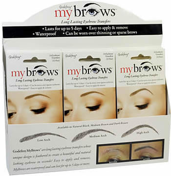 Godefroy My Brows Long-Lasting Eyebrow Transfers DARK BROWN 18 pc Display